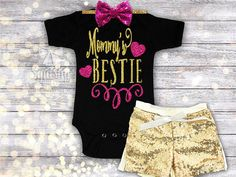 Mommys Bestie Bodysuit or Shirt Outfit, A GREAT Mothers Day Gift PERFECT for any little Mommy Lover!  Adorned with a sparkly personalized