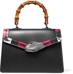 Gucci - Lilith Bamboo Small Embellished Elaphe-trimmed Leather Tote - Black.