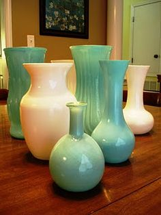 spraypaint old vases- love that tiffany blue color