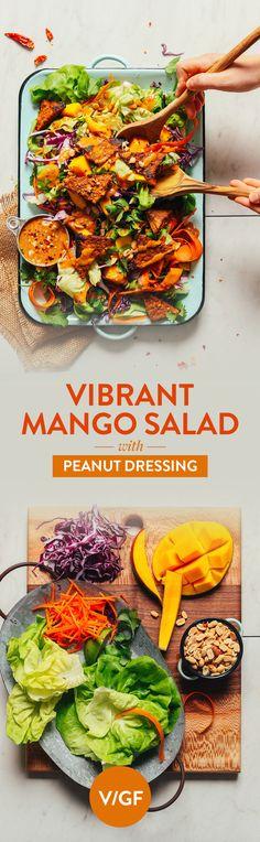 Mango Salad with Peanut Dressing HEALTHY Mango Green Salad with Creamy Peanut Dressing! 15 min, 9 ingredients, SO delicious!HEALTHY Mango Green Salad with Creamy Peanut Dressing! 15 min, 9 ingredients, SO delicious! Baker Recipes, Cooking Recipes, Healthy Salads, Healthy Eating, Mango Salat, Vegetarian Recipes, Healthy Recipes, Peanut Recipes, Peanut Dressing