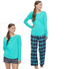 Juniors' SO® Pajamas: Flannel Pants, Shorts & Top 3-Piece PJ Set, Women's, Size: Xl Short, Dark Blue