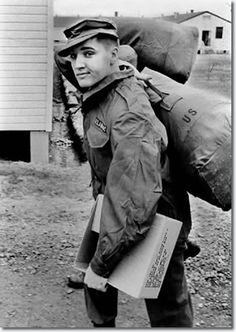 Elvis Presley in his military gear at Ft. Chaffee, Ark., March 28, 1958 (1958-1960)