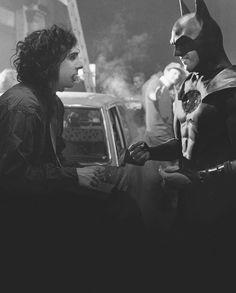 Tim & Michael on the set of Batman at Pinewood Studios, 1989.