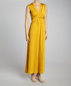 Loving this Mustard V-Neck Maxi Dress on #zulily! #zulilyfinds