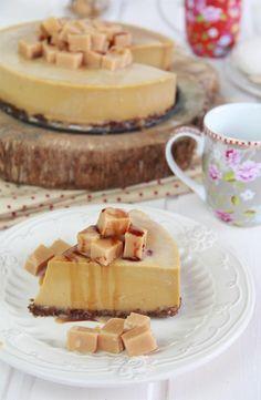 Tarta de queso fría de toffee y caramelo salado