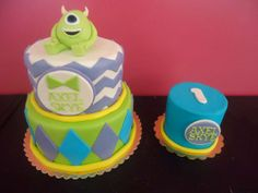 Monsters Inc themed birthday cake and matching smash cake! www.bakedinmoore.com