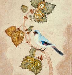 "Miniature opklæbet på et albumblad. ""Fugl på en hasselkvist"", signeret Shafi Abbasi / Miniature pasted on an album leaf. ""A Bird on a Hazel Branch."" Signed Shafi Abbasi"