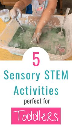 5 Simple and fun STEM based sensory activities for preschoolers and toddlers. Let your kids dig into these fun sensory projects that will introduce STEM concepts and help them have fun! Easy science activities your little ones will ask to do over and over Toddlers And Preschoolers, Sensory Activities For Preschoolers, Color Activities, Infant Activities, Preschool Activities, Indoor Activities, Learning Through Play, Fun Learning, Learning Activities