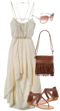 A great outfit for almost anyone. I love white dresses! Summer engagement outfit inspiration.