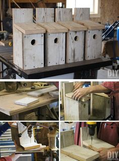 DIY Bluebird birdhouses. Learn how to build a bird house for bluebirds. Building bird houses is fun, especially when you build some with your family. Learn how to build bluebird bird houses, a great afternoon project.