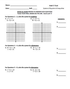 Systems of Equations & Inequalities Test FREEBIE! Great for assessment ...