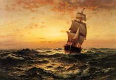 """Edward Moran was an American artist of maritime paintings. He is arguably most famous for his series of 13 historical paintings of United States marine history. (Wikipedia) (""""Ship at Sea, Sunrise"""" by Edward Moran) Ship Paintings, Landscape Paintings, Paintings Online, Popular Paintings, Seascape Paintings, Acrylic Paintings, Landscapes, Painting Gallery, Art Gallery"""