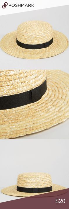 ɴᴡᴛ ᴀsᴏs sᴛʀᴀᴡ ʙᴏᴀᴛᴇʀ ʜᴀᴛ ᴡɪᴛʜ ʙʟᴀᴄᴋ ʙᴀɴᴅ NWT ASOS Straw Boater Hat with grosgrain black band. Flat top. Wide brim. New with tags. ✖️ No trades | No PayPal | No holds | No modeling. ✔️ Offers welcome through the offer button only. 📷 More photos coming soon! ASOS Accessories Hats