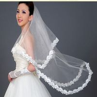 Elegant best price long tulle lace edged white One-layer wedding accessories bridal veils