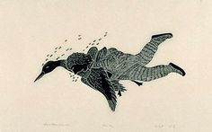 This is a stonecut print by Inuit artist Agnes Nanogak Goose , illustrating a scene from the folk tale The Blind Boy and the Loon . Inuit Art, Portal, Blinds, Folk, News, Illustration, Artist, Image, Sunroom Blinds