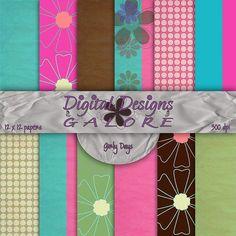 Girly Days Digital Paper Pack Set of 12  by DigitalDesignsGalore, $3.99