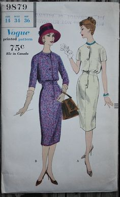 Vogue 9879 1950s 50s Tailored Wiggle Dress Vintage Sewing Pattern Size 14 Bust 34
