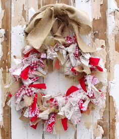 Valentine's Day Burlap and Red Rag Wreath. $35.00, via Etsy.