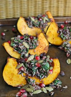 This Wild Rice and Acorn Squash Wedge Salad is effortlessly simple with bright pomegranate seeds, roasted acorn squash & hearty wild rice in every bite!
