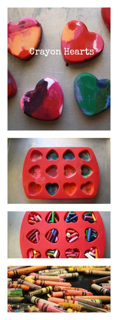 Crayon Hearts-great idea for easter baskets
