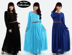 Model: Cecilie Maxi Dress  Code: U877  Colors available: Pink, Purple, Turquoise, Black, Blue, Electric Blue  Material: Chiffon  Size: S, M (UK, 8, 10) (Aus. 10, 12)  Dress length 140cm (55.11 inches) (4.59 feet)  *Full lining, with elastic waistband (without belt)  Price: RM85 / S$34.65 / US$27.96 / €21.43 / C$28.61 / A$27.11 / £18.25  Terms & Conditions: https://www.facebook.com/notes/an-nur-collections/terms-conditions/379084078816636  Order form: http://islamicboutiqueannur.blogspot.com/