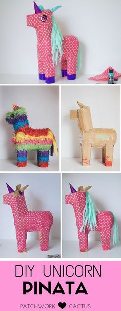This little unicorn piñata is something that anyone can make, all you have to do is upstyle a donkey and can I just say, her make over came out pretty nicely. Want the full tutorial? Homemade Pinata, How To Make Pinata, Unicorn Pinata, Unicorn Birthday Parties, Birthday Ideas, Crafts For Kids, Arts And Crafts, Little Unicorn, Grad Parties