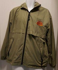 Overseas Adventurers Club Khaki Windbreaker Rain Jacket Hood Mens Large L #OAC #Windbreaker