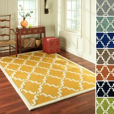 nuLOOM Handmade Luna Marrakesh Trellis Wool Rug -- I think this, in the rust color, is my current favorite to go in the living room. similar pattern as the fireplace means it goes, but with a contrasting color.