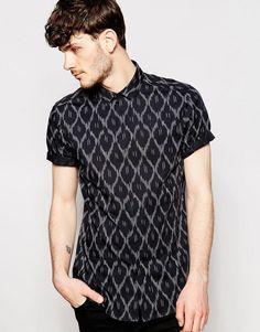 ASOS | ASOS Shirt With Short Sleeves And Ikat Print at ASOS