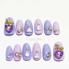 Fake nails pastel goth unicorn lilac lavender pastel by Aya1gou