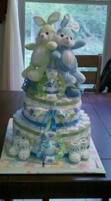 This is an Easter delight! This darling diaper cake is a precious, pastel design that is perfect for twins! Kate from Louisiana submitted her wonderful,
