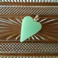 Heart Jadite Pyrex Jewelry Pendant, from an Upcycled broken Vintage Fire King batter bowl, Green MilkGlass SEVHS JewelryOnEtsy VHIS MCM#P227  https://www.etsy.com/listing/292161511/heart-jadite-pyrex-jewelry-pendant-from