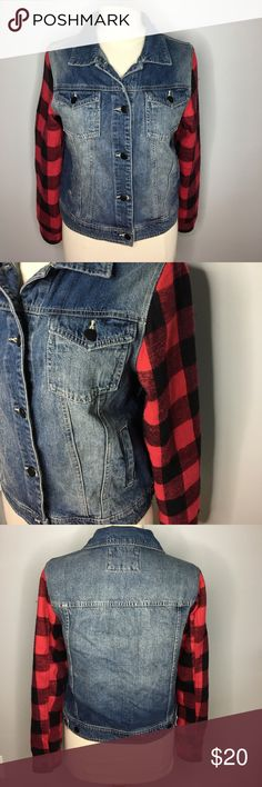 Forever 21 Jean Jacket with Plaid Sleeves Super adorable Jean jacket by F21. Super soft and comfortable - not stiff like some Jean jackets. Cute red and black plaid sleeves that have a Button cuff. Great for Fall. A must-have! In excellent, gently used condition. Smoke free home. Forever 21 Jackets & Coats Jean Jackets
