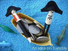 Pirate peg dolls, also mermaids in this post #pegdolls