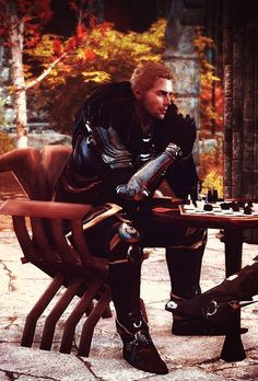 Cullen - Dragon Age Inquisition (i always have to cheat at chess in this scene... it's just too funny.)