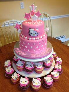 Hello kitty Cake with cupcakes.