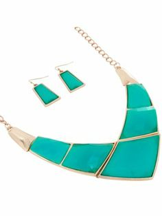 Turquoise and Goldtone Bib Necklace and Earring Set