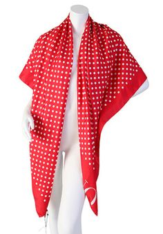 """Details:   Pink & red double-sided Polka dot scarf   Material:  100% Silk  55"""" x 55""""   Condition:    New with tags."""