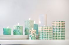Aqua and White candles; perfect for Mother's Day & Spring!
