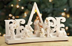 """Lighted """"PEACE"""" Nativity Tabletop"""