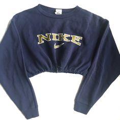 QUEENS | Reworked Nike Swoosh Crop Sweatshirt Navy