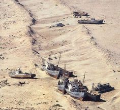 Dried up Aral sea shipwrecks