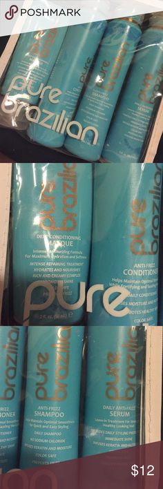 Pure Brazilian hair products Comes with a few conditioning masque, shampoo, conditioner, and serum. NEVER USED Other