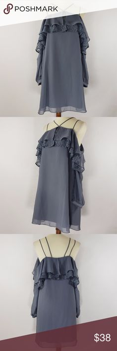 "Love Fire Cute Cold Shoulder Lace Blue Dress Sz S Love Fire Women's Dress Cold Shoulder Long Sleeve Lace Ruffle Blue Sz Small  Shell 100% polyester  Contrast 70%, cotton 30% nylon  Lining 100% polyester	  Length 31"" Bust 36"" Love Fire Dresses"