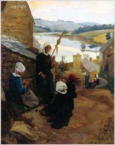 "Alfred-Victor Fournier 1872-1924 "" Soir à Pont Croix"""
