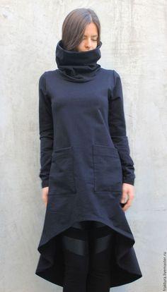 Black Oversize Top/Plus Size Tunic/Sport Sweatshirt/High Collar Top/ Black Maxi Tunic/ Extravagant T Collar Top, High Collar, Sports Sweatshirts, Steampunk Clothing, Black Maxi, Hoodie Dress, Black Fabric, Black Tops, Casual Outfits