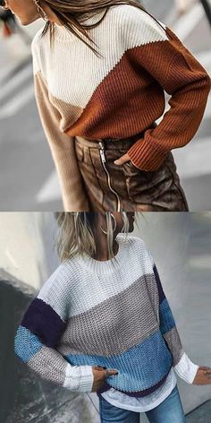 High Neck Color Block Patchwork Sweater Fashion style clothing suits for women, suits design, easy to clothes match, good choice for vacation wear and daliy wear. Beautiful Outfits, Cute Outfits, Star Fashion, Fashion Outfits, Suits For Women, Clothes For Women, Matching Sweaters, Autumn Street Style, Color Block Sweater
