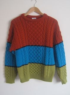 Vintage Men's 1980s Colour Block Aran Cable Knit Jumper - Medium available to buy online at Virtual Vintage Clothing