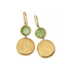 Marco Bicego Jaipur Yellow Gold and Green Tourmaline dangle earrings