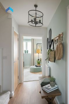 Elmsbrook in Bicester, Oxfordshire Entrance Hall Decor, House Entrance, Entrance Halls, Duck Egg Blue Hallway, Narrow Hallway Decorating, Hallway Colours, Small Hallways, New Homes For Sale, Pastel Colours